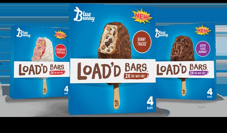 Load'd Bars Strawberry Shortcake, Bunny Tracks, and Super Fudge Brownie